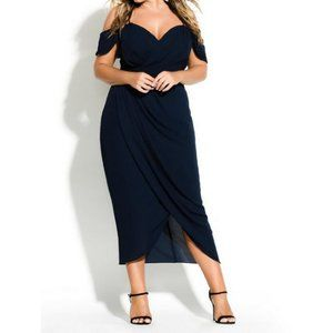 City Chic Black Entwine Off Shoulder Maxi Dress 14
